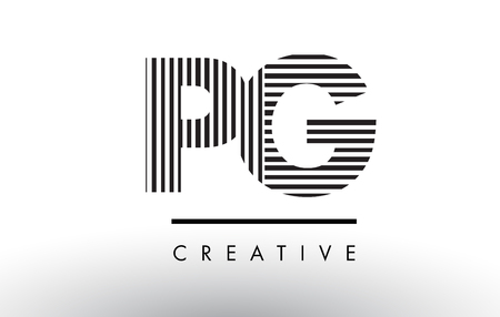 PG P G Black and White Letter Logo Design with Vertical and Horizontal Lines.