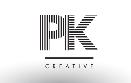 PK P K Black and White Letter Logo Design with Vertical and Horizontal Lines. Logó