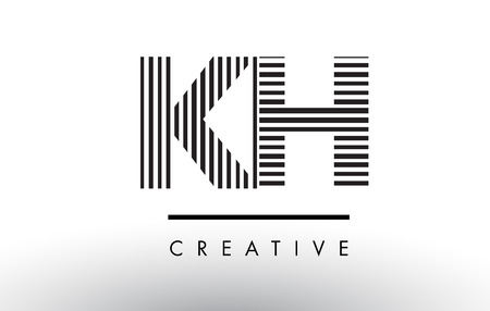 KH K H Black and White Letter Logo Design with Vertical and Horizontal Lines.