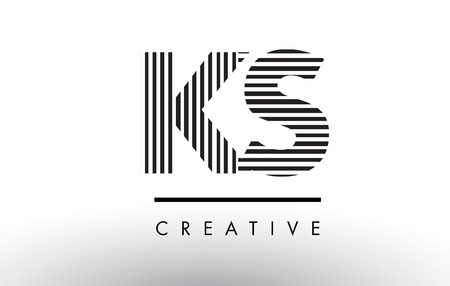 KS K S Black and White Letter Logo Design with Vertical and Horizontal Lines.