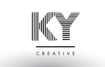 KY K Y Black and White Letter Logo Design with Vertical and Horizontal Lines. Stock Vector - 79312734