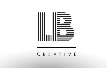 LB L B Black and White Letter Logo Design with Vertical and Horizontal Lines.