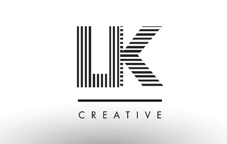 LK LK Projekt logo litery czarno-białej z liniami pionowymi i poziomymi.