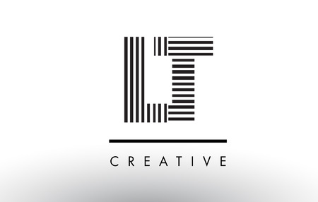 LT L T Black and White Letter Logo Design with Vertical and Horizontal Lines.