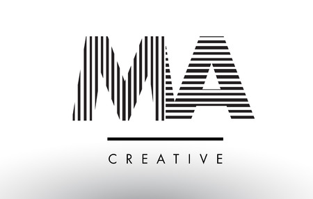 MA M A Black and White Letter Logo Design with Vertical and Horizontal Lines.