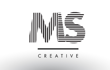 MS M S Black and White Letter Logo Design with Vertical and Horizontal Lines.