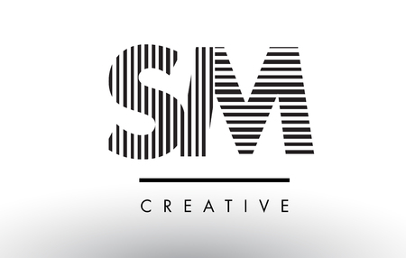 SM S M Black and White Letter Logo Design with Vertical and Horizontal Lines. Ilustrace