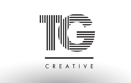 TG T G Black and White Letter Logo Design with Vertical and Horizontal Lines.
