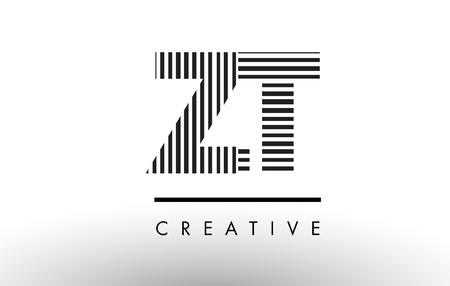 ZT ZT Siyah ve Beyaz Letter Logo Tasarımı Dikey ve Yatay Çizgilerle.