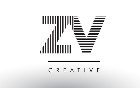 ZV Z V Black and White Letter Logo Design with Vertical and Horizontal Lines.