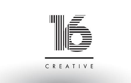 垂直線と水平線で黒と白の 16 数ロゴ設計。  イラスト・ベクター素材