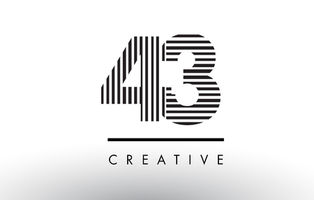 43 Black and White Number Logo Design with Vertical and Horizontal Lines.