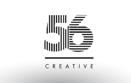 56 Black and White Number Logo Design with Vertical and Horizontal Lines.