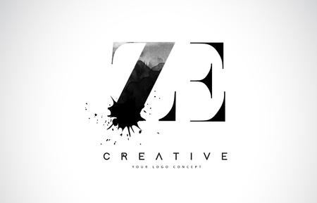 ZE Z E Letter Logo Design with Black Ink Splash Spill Vector Illustration.