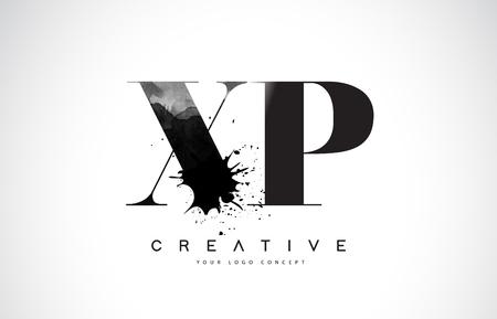 XP X P Letter Logo Design with Black Ink  Splash Spill Vector Illustration.