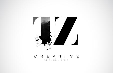 TZ T Z Letter Logo Design with Black Ink  Splash Spill Vector Illustration.