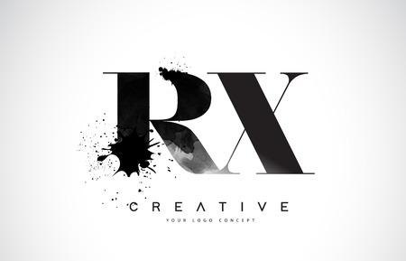 RX R X Letter Logo Design with Black Ink Splash Spill Vector Illustration. Logo