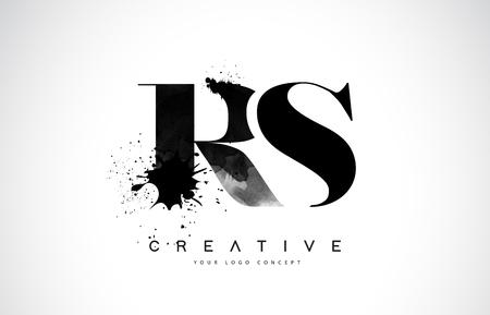 RS R S Letter Logo Design with Black Ink Splash Spill Vector Illustration.