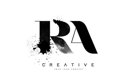 RA R A Letter Logo Design with Black Ink Splash Spill Vector Illustration. Logo