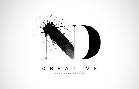 ND N D Letter Logo Design with Black Ink  Splash Spill Vector Illustration.