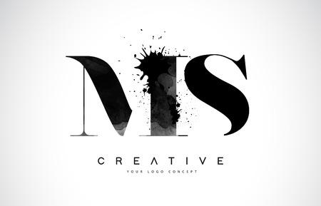 MS M S Letter Logo Design with Black Ink  Splash Spill Vector Illustration.