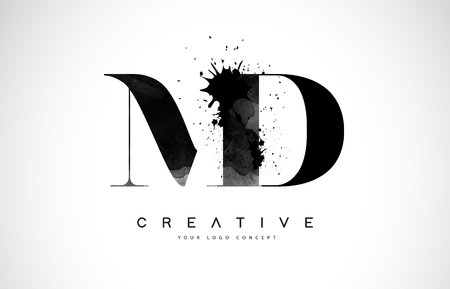 MD M D Letter Logo Design with Black Ink  Splash Spill Vector Illustration.