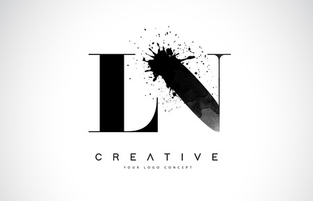 L N Letter Logo Design with Black Ink Splash Spill Vector Illustration.