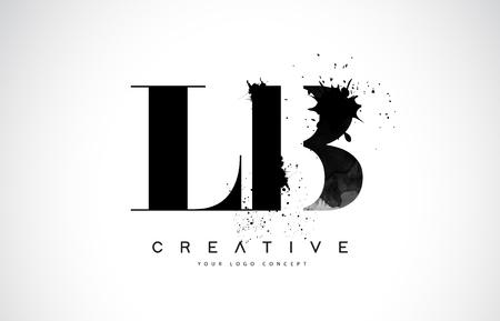 LB L B Letter Logo Design with Black Ink Splash Spill Vector Illustration.