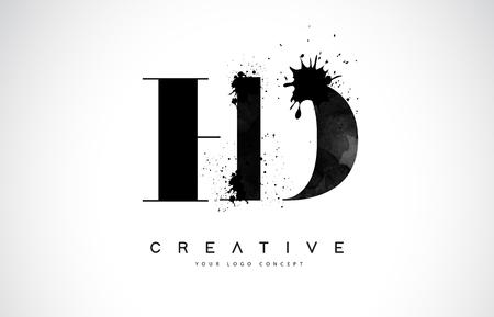HD H D Letter Logo Design with Black Ink Splash Spill Vector Illustration.
