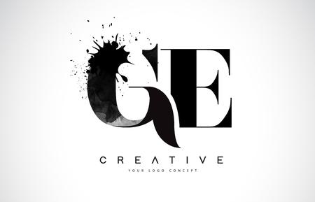 GE G E Letter Logo Design with Black Ink  Splash Spill Vector Illustration. Vectores