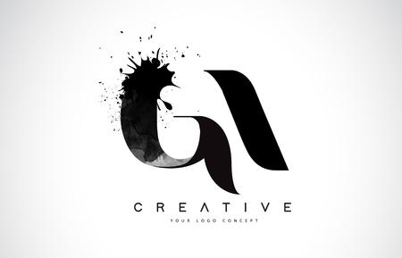 GA G A Letter Logo Design with Black Ink Splash Spill Vector Illustration.