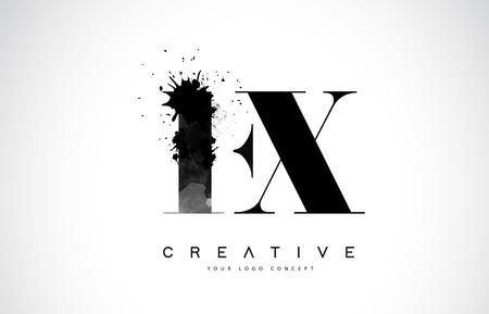 FX F X Letter Logo Design with Black Ink  Splash Spill Vector Illustration. Ilustração