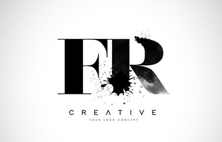 FR F R Letter Logo Design with Black Ink Splash Spill Vector Illustration.