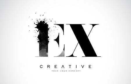 EX E X Letter Logo Design with Black Ink  Splash Spill Vector Illustration.