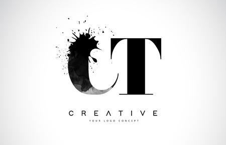 CT C T Letter Logo Design with Black Ink  Splash Spill Vector Illustration.  イラスト・ベクター素材