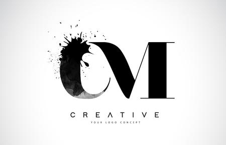 CM C M Letter Logo Design with Black Ink Splash Spill Vector Illustration.