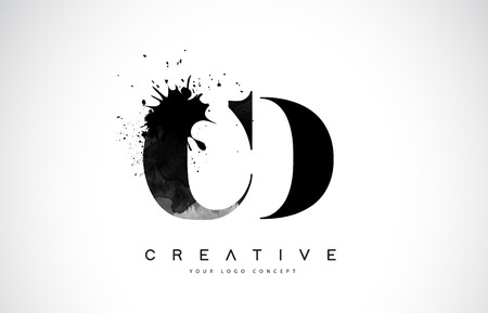 CD C D Letter Logo Design with Black Ink  Splash Spill Vector Illustration.