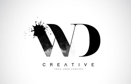 WD W D Letter Logo Design with Black Ink  Splash Spill Vector Illustration. 矢量图像