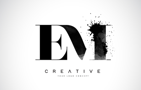 EM E M Letter Logo Design with Black Ink Splash Spill Vector Illustration. Logos