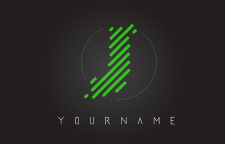 J Letter Logo Design made of Neon Green Lines Vector Illustration