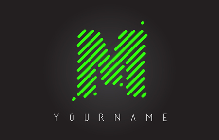 M Letter Logo Design made of Neon Green Lines Vector Illustration Stock Vector - 109349265