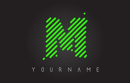 M Letter Logo Design made of Neon Green Lines Vector Illustration