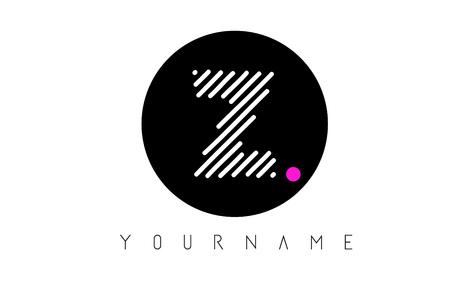 Z Letter Logo Design with White Lines and Black Circle Vector Illustration Ilustração
