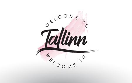 Tallinn Welcome to Text with Watercolor Pink Brush Stroke Vector Illustration.