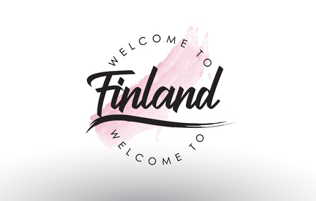 Finland Welcome to Text with Watercolor Pink Brush Stroke Vector Illustration.