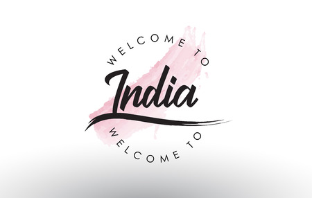 India Welcome to Text with Watercolor Pink Brush Stroke Vector Illustration.