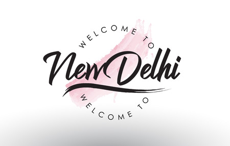 NewDelhi Welcome to Text with Watercolor Pink Brush Stroke Vector Illustration.