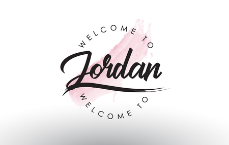 Jordan Welcome to Text with Watercolor Pink Brush Stroke Vector Illustration. Çizim