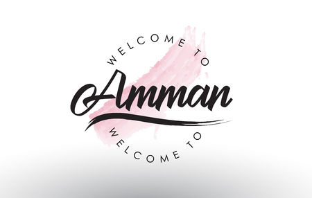 Amman Welcome to Text with Watercolor Pink Brush Stroke Vector Illustration.