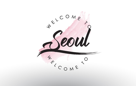 Seoul Welcome to Text with Watercolor Pink Brush Stroke Vector Illustration. Çizim